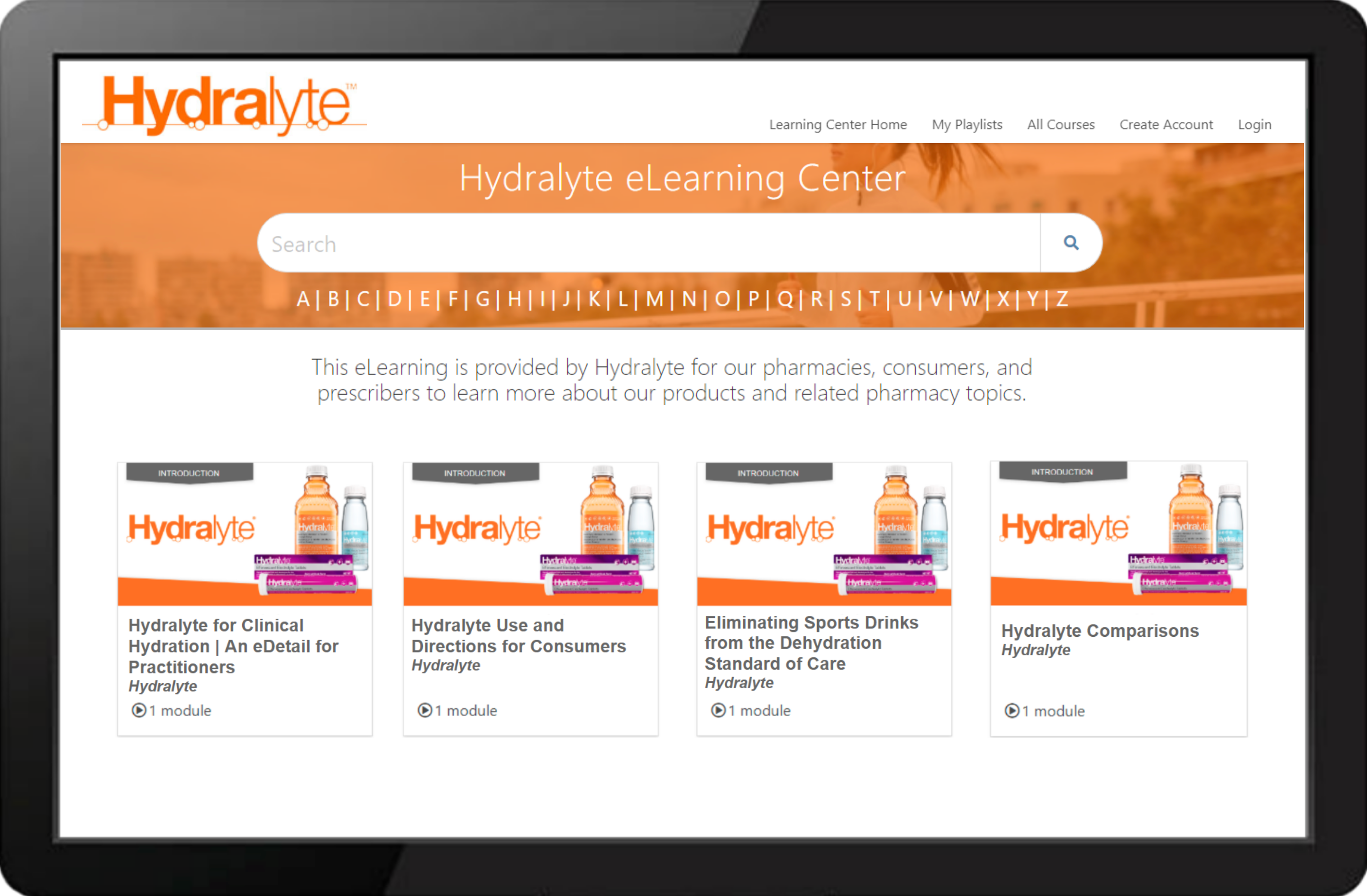 Hydralyte Learning Center Example